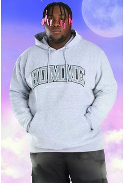 Grey Big And Tall Homme Embroidered Hoodie