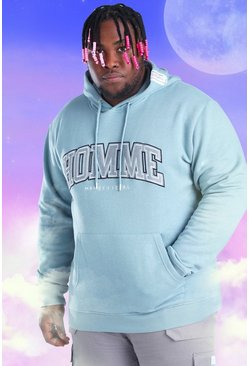 Light blue Plus Size Homme Embroidered Hoodie