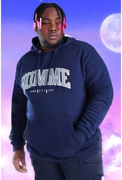 Navy Plus Size Homme Embroidered Hoodie