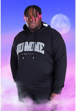 Black Big And Tall Homme Embroidered Hoodie