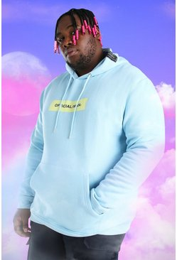 Light blue Big And Tall Official MAN Box Print Hoodie
