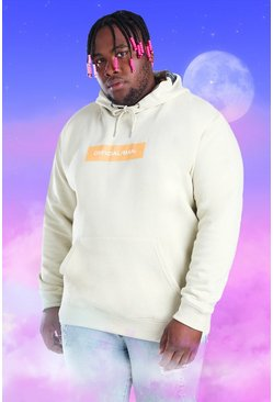 Ecru Big And Tall Official MAN Box Print Hoodie