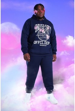 Navy Big And Tall MAN Butterfly Print Tracksuit
