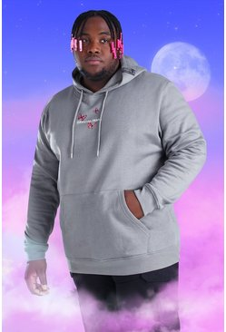 Light grey Big And Tall MAN Butterfly Print Hoodie