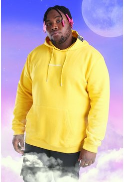 Yellow Plus Size Official MAN Print Hoodie
