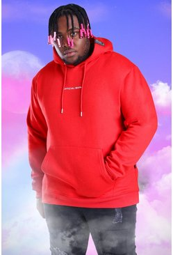 Red Plus Size Official MAN Print Hoodie