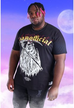 Black Plus Size MAN Official Skull Print T-Shirt