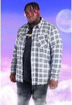 Grey Plus Size Flannel Overshirt With Woven Tab