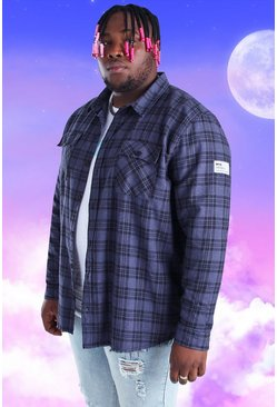 Navy Plus Size Check Overshirt With Woven Tab