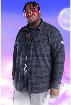 Charcoal Plus Size Check Overshirt With Woven Tab