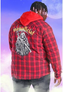 Red Plus Size Flannel Back Print Check Shirt
