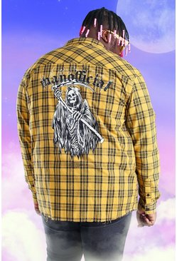 Yellow Plus Size Flannel Back Print Check Shirt