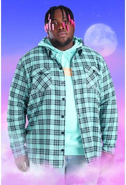 Mint Plus Size Flannel Overshirt With Woven Tab