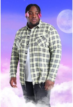 Yellow Plus Size Check Overshirt With Woven Tab