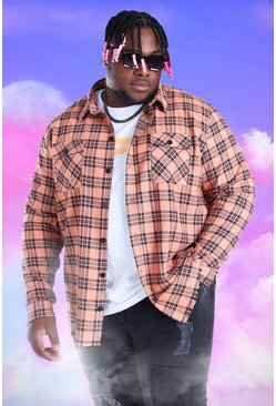 Orange Plus Size Check Overshirt With Woven Tab