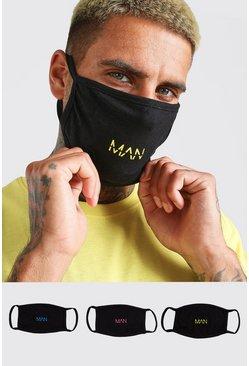 Black 3 Pack MAN Dash Reversible Fashion Masks