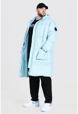 Light blue Plus Size Longline Hooded Puffer