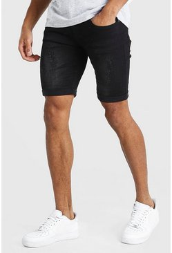 Washed black Skinny Stretch Denim Shorts With Abrasions