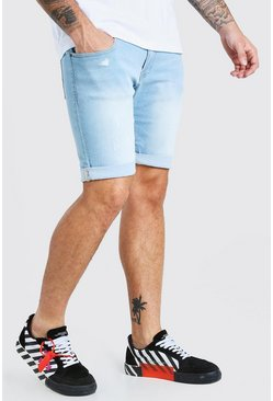 Light blue Skinny Stretch Denim Shorts With Abrasions