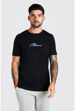 Black MAN Signature Embroidered T-Shirt