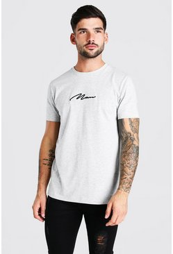 Grey marl MAN Signature Embroidered T-Shirt