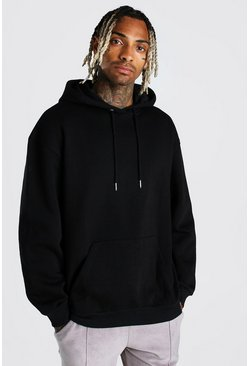 Black Oversized Over The Head Fleece Hoodie