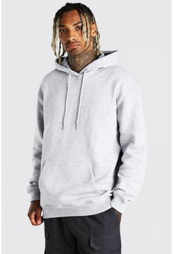 Grey marl Oversized Over The Head Fleece Hoodie