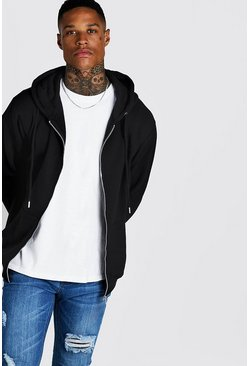 Black Basic Zip Through Fleece Hoodie