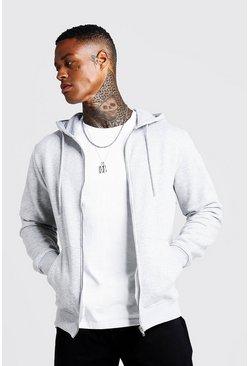 Grey marl Basic Zip Through Fleece Hoodie