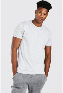 Grey marl Basic Rolled Sleeve T-Shirt