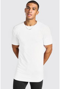 White Basic Muscle Longline Curved Hem T-Shirt