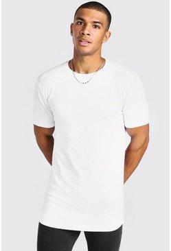 White Basic Muscle Longline Curved Hem T-Shirt