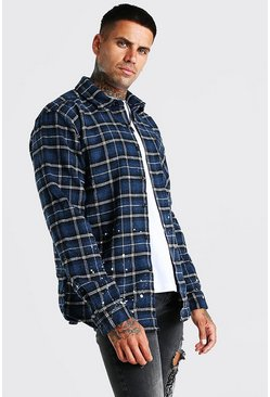 Blue Heavy Weight Check Overshirt With Paint Splatter