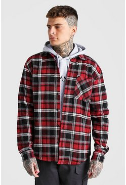 Red Long Sleeve Flannel Check Overshirt With Back Embroidery