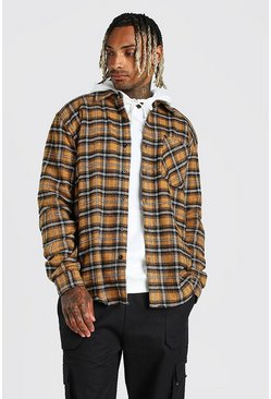 Mustard Long Sleeve Check Overshirt