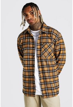Mustard Heavy Weight Check Overshirt With Back Print