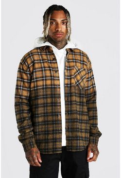 Mustard Heavy Weight Check Overshirt With Ombre