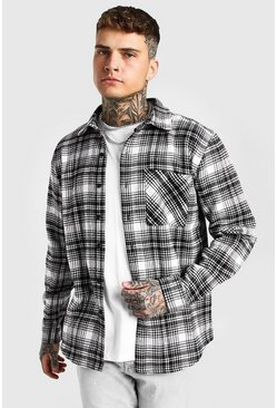 Ecru Long Sleeve Check Overshirt