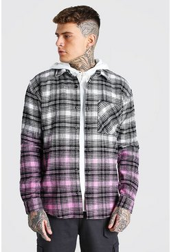 Ecru Heavy Weight Check Shirt Jacket With Ombre Hem