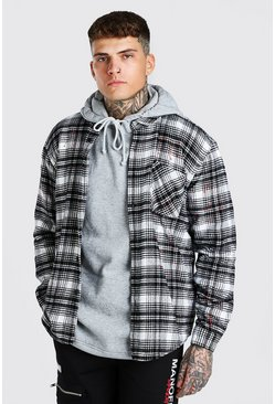 Ecru Heavy Weight Check Overshirt With Paint Splatter
