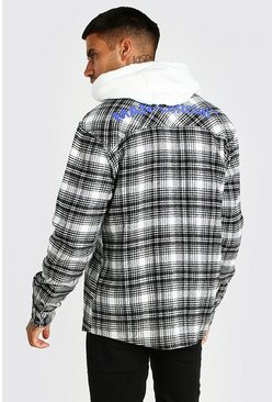 Ecru Man Official Back Print Check Shirt Jacket
