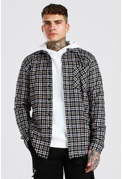 Beige Long Sleeve Check Overshirt
