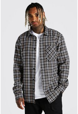 Beige Long Sleeve Check Overshirt With Back Embroidery