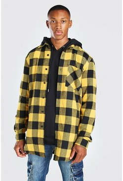 Yellow Long Sleeve Longline Flannel Shirt