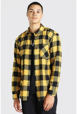 Yellow Long Sleeve Flannel Check Overshirt With Distressed Hem