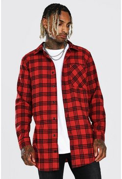 Red Long Sleeve Longline Flannel Check Shirt