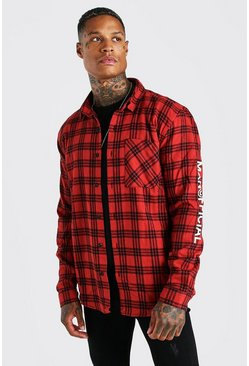 Red MAN Official Check Overshirt With Embroidery