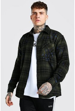 Khaki Heavy Weight Check Overshirt With Paint Splatter