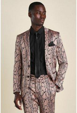 Pink Skinny Snake Jacquard Suit Jacket