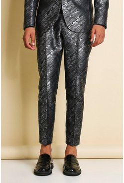 Grey Skinny Animal Jacquard Cropped Suit Trouser